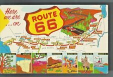 King of The Road Get Your Kicks On Route 66 Map Main St Across America Postcard