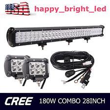 "28"" 180W CREE LED Light Bar Combo Offroad+Wire harness+2pcs 18W 4INCH Lamp HAP"