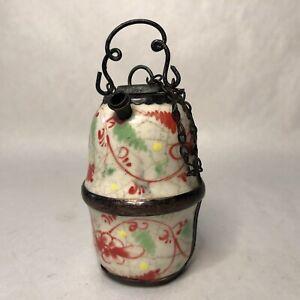 Antique Chinese Ceramic Porcelain Opium Water Pipe Floral Design