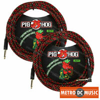 "2-Pack Pig Hog 1/4"" Tartan Plaid Guitar Instrument Cable Cord 20ft Right-Angle"
