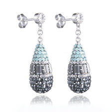 High Quality Crystal Stud Earrings Dangle Teardrop Female 925 Sterling Silver CZ