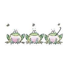 PENNY BLACK RUBBER STAMPS GREEN LINE FROG NEW wood STAMP