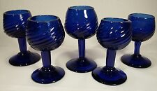 5 Vintage Mexican Art Hand Blown Cobalt Blue Ribbed Swirl Cordial/Liquor Glasses