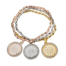 ROSE GOLD, SILVER PLATED ROUND CHARMS CHAIN STRETCHY LINK BRACELET VALENTINES
