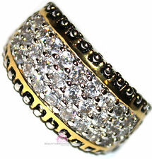 Zirconia Gold Plated Band Ring Size 8 Womens Two Tone Dot Pave Clear Mini Cubic