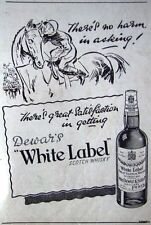 2 x 1947 Dewar's 'WHITE LABEL' Scotch Whisky Adverts - Small Cartoon Print Ads