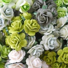 100 Mixed Mulberry Paper Flowers Wedding Headpiece Scrapbook Card Roses R8-839