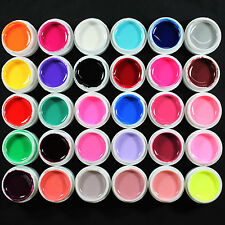 30 PCS Solid Pure Mix Color UV Builder Gel Acrylic Nail Art Kits Set NEW
