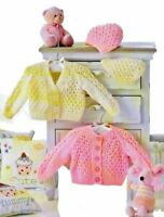Pretty Lacy Baby Cardigans & Hat DK KNITTING PATTERN (Prem - 12 mths) UKHKA 137