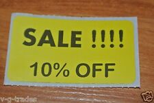 LOT 100 YELLOW SALE 10% OFF  Price Labels Stickers Tags Retail Store 2X1 INCH