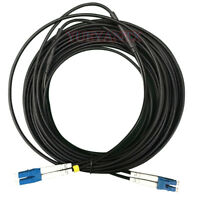 20M LC UPC to LC UPC Duplex Single Mode Black Armored PVC Fiber Patch Cord Cable