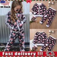 2Pcs/Set Kids Girls Tracksuit Floral Jacket Tops Pants Casual Outfits Clothes US