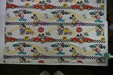 Vintage Walt Disney Mickey Mouse Race Car Print Cotton Twin Bedding Flat Sheet