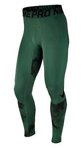 MEN'S NIKE PRO THERMA HYPERWARM COMPRESSION TIGHTS BASE LAYER CAMO GREEN BLACK