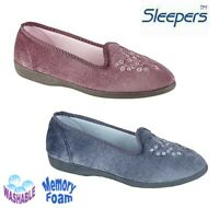Ladies Embroidered Washable Slippers Padded  Blue Pink Velour - Size 3 4 5 6 7 8