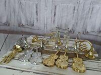 Vintage Musical Instruments Guitar Trumpet Set of 16 Plastic Christmas Ornament