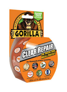 """Gorilla Crystal Clear Duct Tape, 1.88"""" x 9 yd, Clear, (Pack of 1)"""