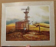 Vintage Windsor Art Print Among the Hills-Windmill/Farm/Landscape-Frank Hamilton