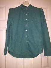 LANDS END Button Down Long Sleeve Shirt  Green Women  Size 10
