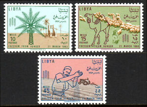 """Libya 234-236, MNH. FAO """"Freedom from Hunger"""". Date palm; Camel & sheep,1963"""