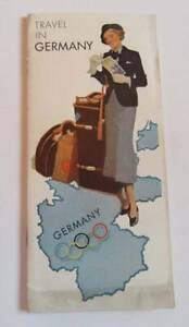 1936 Germany Travel Toursist Foldable Country Map
