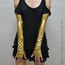 Gold Metallic Long Arm Warmers Oil Slick Cybergoth Vinyl Legwarmers Shiny 1005