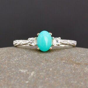 Natural Turquoise & White Topaz Silver Minimalist Ring Sz U(UK) 10.25(US) Ref734