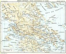 ANCIENT GREECE. Mainland & Euboea. Grèce. Eubee 1956 old vintage map chart