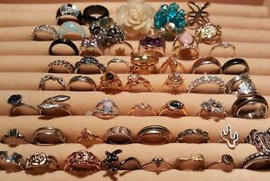 Lot of 50+ Fashion & Costume Rings Marc Jacobs, Avon, Disney, Stack, Statement