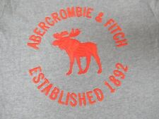 ABERCROMBIE & FITCH MUSCLE FIT ORANGE EMORIDERED MOOSE  -LARGE GRAY T-SHIRT-F53