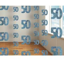 Blue Glitz 50th Birthday Party Supplies Decorations (Confetti Strings Napkins)