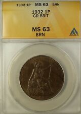 1932 Great Britain 1 Penny King George the Fifth V ANACS MS-63 Brown