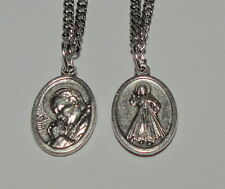 "Pope Saint John Paul II & Divine Mercy Holy Medal on 24"" Stainless Steel Chain"