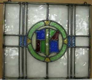 """OLD ENGLISH LEADED STAINED GLASS WINDOW Unframed w Hooks Crest 17.5"""" x 15.5"""""""