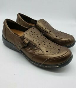 EARTH Womens US 9.5 B Ginseng Bronze Leather Casual Slip On Shoes