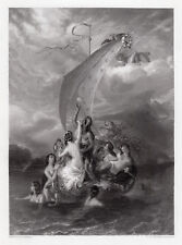 """ETTY 1800s Engraving """"Youth & Pleasure with Approaching Storm"""" SIGNED Framed COA"""