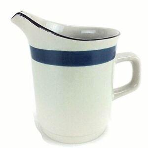Creamer Pitcher Stoneware Beige Dark Blue Band Japan