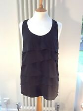 Black Racer Back Chiffon Vest Top - Layered Frill Detail - UK 14 - BNWT