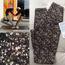 NWT Lululemon Sz 6 Shine Tight Roll Down Gold Shimmy Sequin Hi Rise