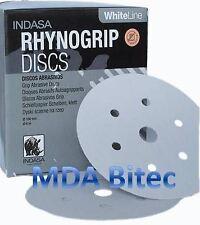 """Rhynogrip WhiteLine 150mm P320 Grit 6"""" 100x 7H Abrasive Sanding Discs HookNLoop"""