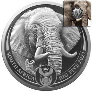 Südafrika - 5 Rand 2021 - Big Five Serie II. - Elefant (1.)  - 1 Oz Silber ST