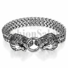 Double Lion Head Clasp Bangle Bracelet Stainless Steel Mens Silver Tone Heavy