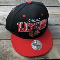 Chicago Blackhawks Script NHL Mitchell & Ness Snapback Hat Red and Black