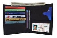 Black Genuine Leather Hipster European Men's Bifold Wallet Card Holder