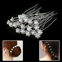Flower Wedding Hair Pins Bridesmaid Crystal Diamante Pearls Prom White 10pcs