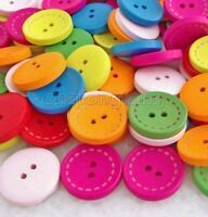 100pcs Mixed Color Round 2-Holes Wooden Sewing Buttons Scrapbook 20mm Cnk257 K