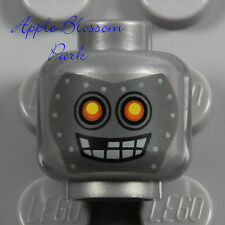 NEW Lego Monster Robot MINIFIG SILVER HEAD - Halloween Metal Robo Bot Gray Skull