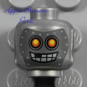NEW Lego Monster Robot MINIFIG SILVER HEAD - Halloween Metal Robo Bot Gray Skull