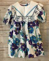 Vintage 80s Diane Von Furstenberg Dress Size 5 White Purple Floral Lace Smocked