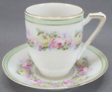 Pair of Krister KPM Pink Rose Snowball Flower & Green Band Chocolate Cups C 1904